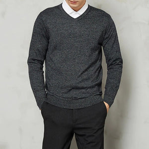 Knitted V-Collar Pullover