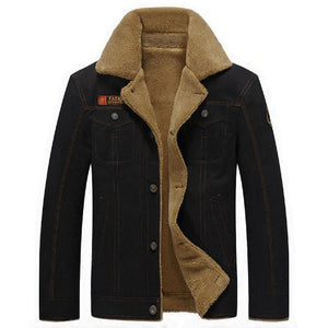 Denim Jacket with Fur - MAROON SCARF - men's clothing