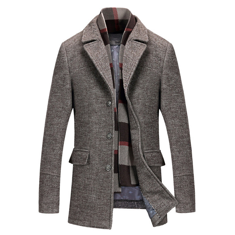 Classic Wool Blend Coat - MAROON SCARF - men's clothing
