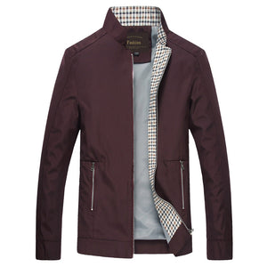 Slim Fitted Spring Jacket - MAROON SCARF - men's clothing