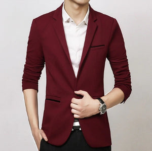 Slim Fit Blazer - MAROON SCARF - men's clothing