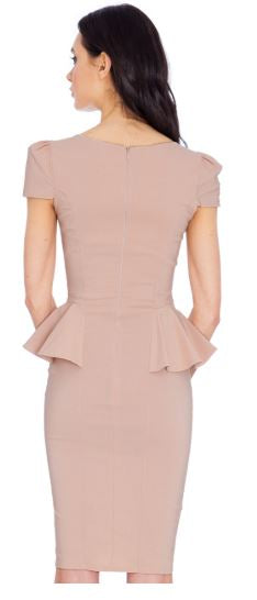 Deep Neckline Side Peplum Short Sleeve Midi Dress