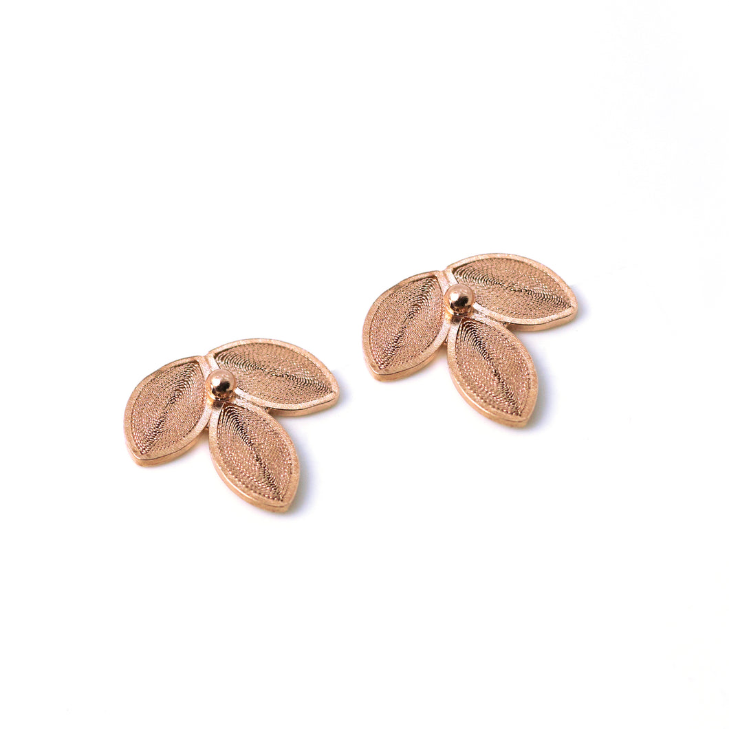 3 Leaves Flower Studs  -Rose Gold Plated-