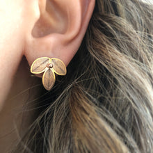 Load image into Gallery viewer, 3 Leaves Flower Studs  -Rose Gold Plated-