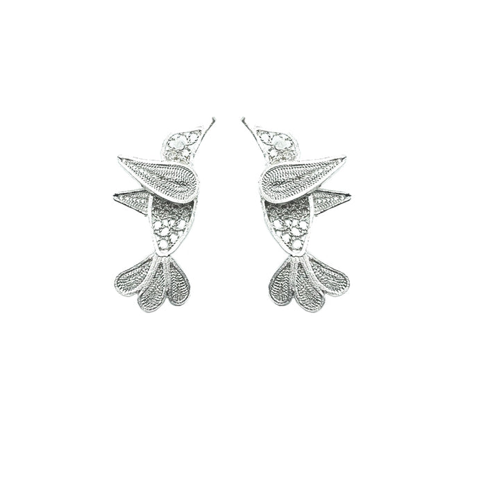Hummingbird Earrings - Sterling silver filigree studs -