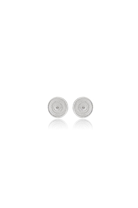 Intricate handmade silver filigree tiny disc stud earrings, circles silver earrings, circular design