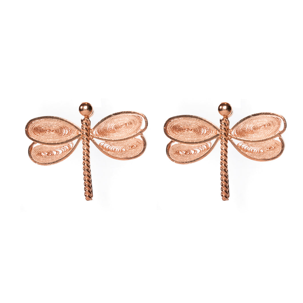 Dragonfly Filigree Studs -Rose Gold-