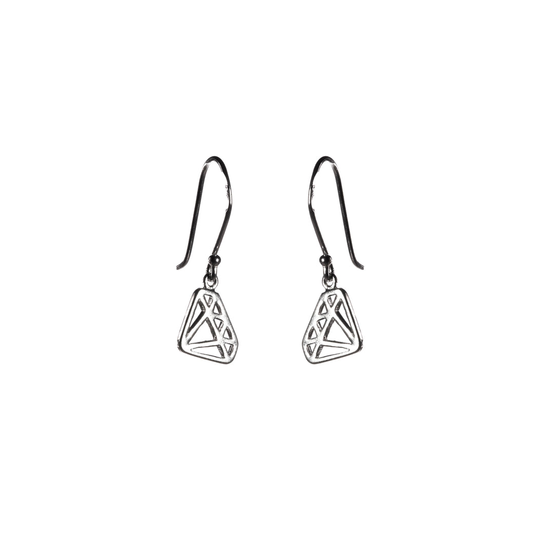 Small Diamond Shape Dangle Silver Earrings