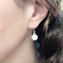 Load image into Gallery viewer, Small Volumetric Flower Dangle Sterling Silver Earrings