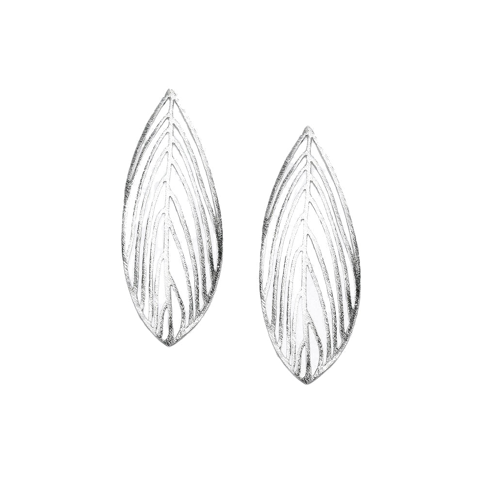 Handmade Gardenia Leaf Sterling Silver Earrings
