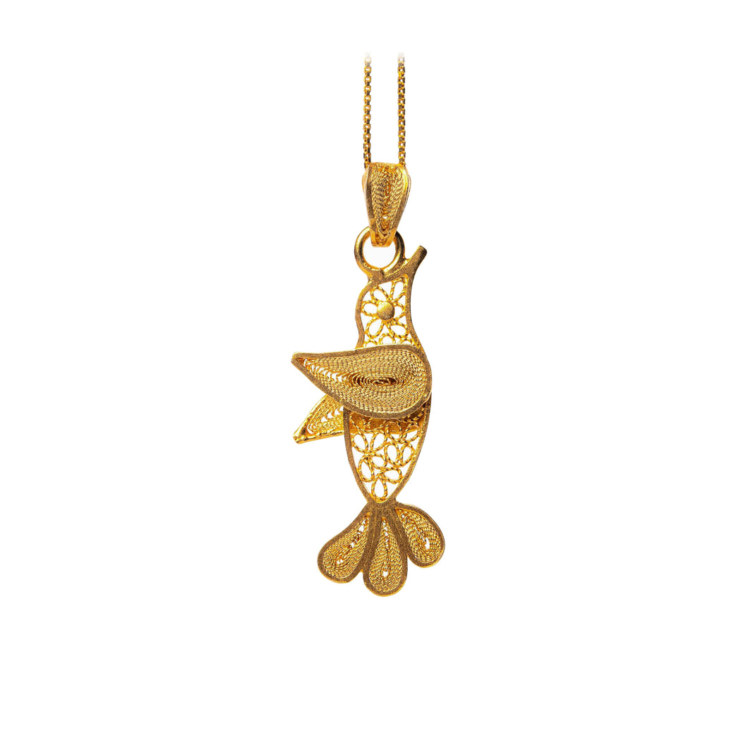 Hummingbird Filigree Pendant -Gold Plated-