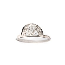 Load image into Gallery viewer, Thin Delicate Half Circle Filigree Ring