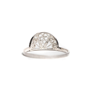 Thin Delicate Half Circle Filigree Ring
