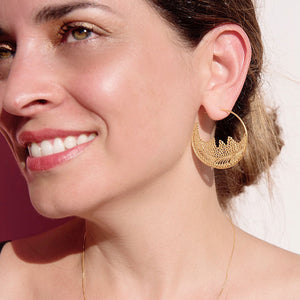 Gold Plated Sterling Silver Filigree Hoops Earrings