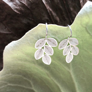 Handmade Leaf Hook Earrings - Sterling silver filigree -