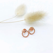 Load image into Gallery viewer, Little Studs Rope Twist Circle Rose Gold Plated