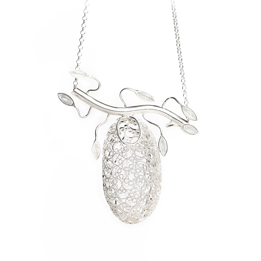 Bird nest silver filigree necklace, volume sterling silver pendant nest intricate, branch necklace
