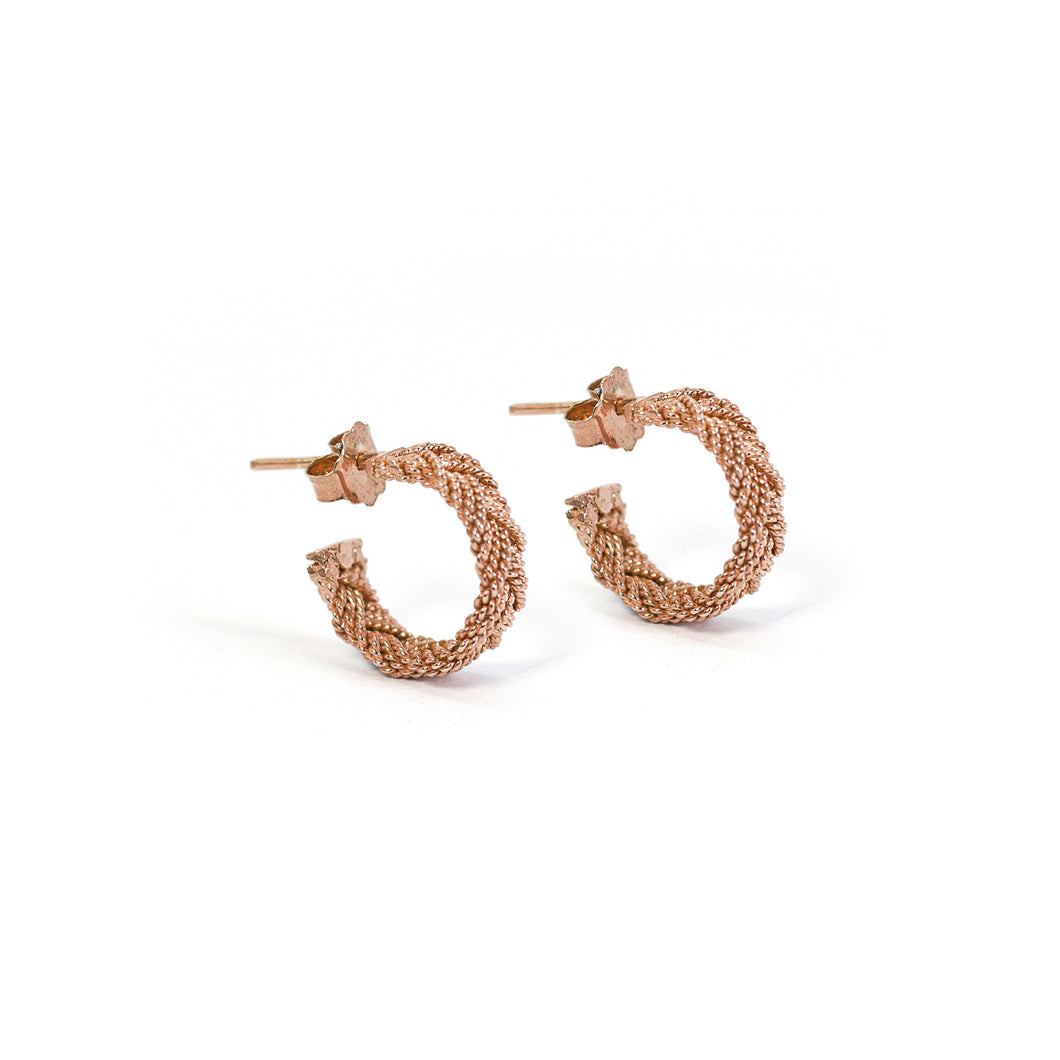 Waived Filigree Hoop Earrings -Rose Gold Plated-