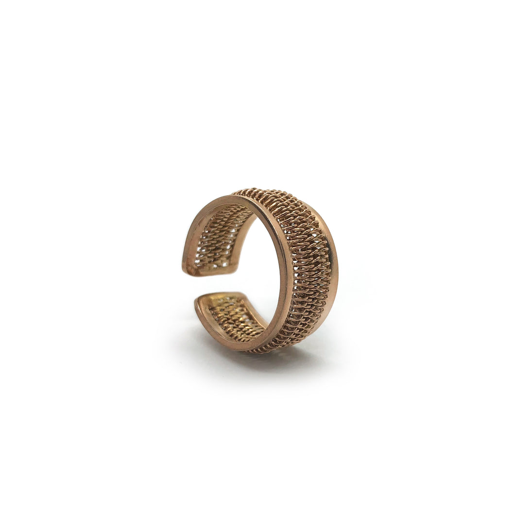 Unisex Gold Plated Sterling Silver Adjustable Spring Ring