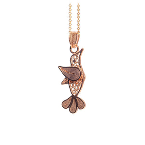 Hummingbird Filigree Pendant -Rose Gold Plated-