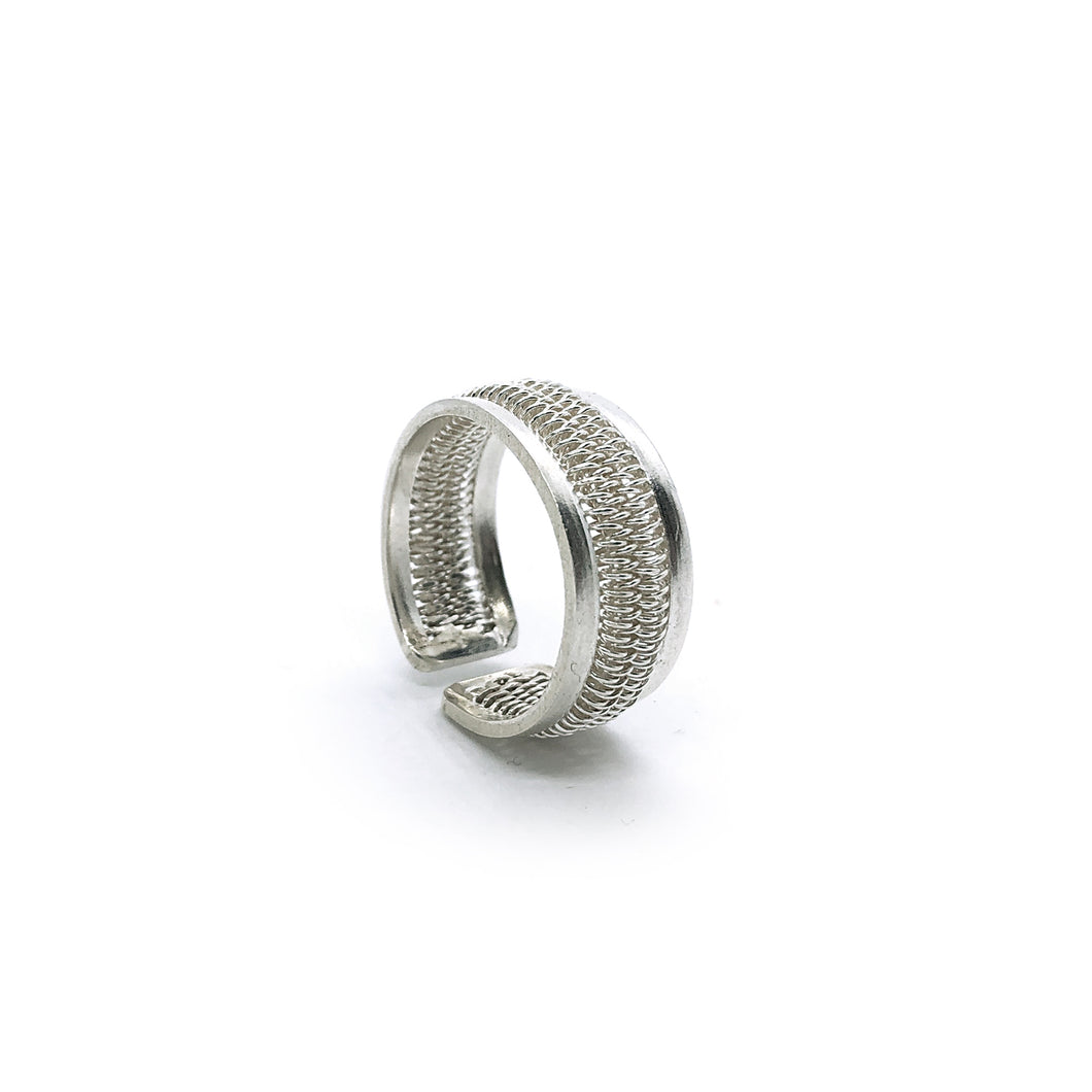 Unisex Sterling Silver Adjustable Spring Ring