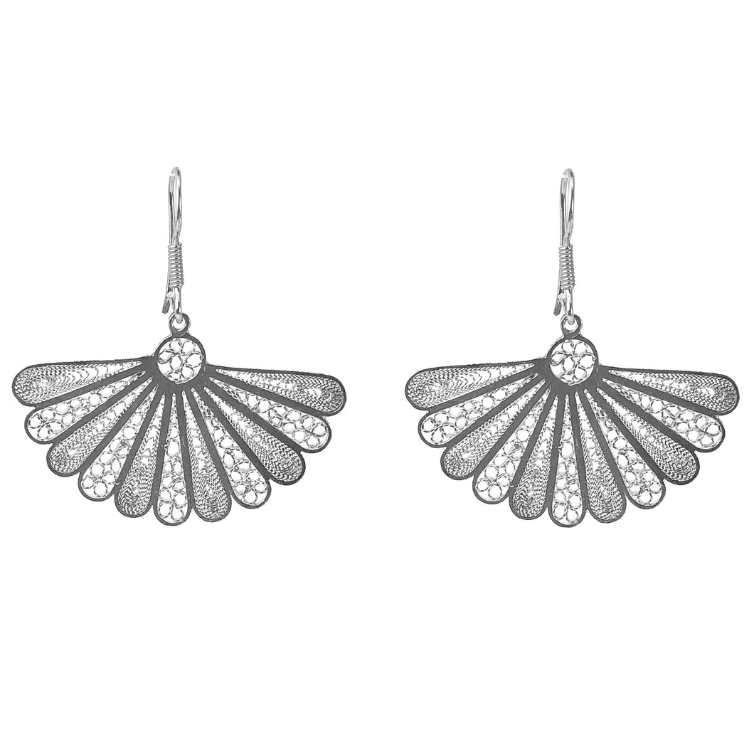 Isabel Spanish Fan Shaped Sterling Silver Earrings