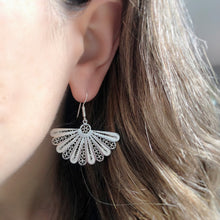 Load image into Gallery viewer, Isabel Spanish Fan Shaped Sterling Silver Earrings
