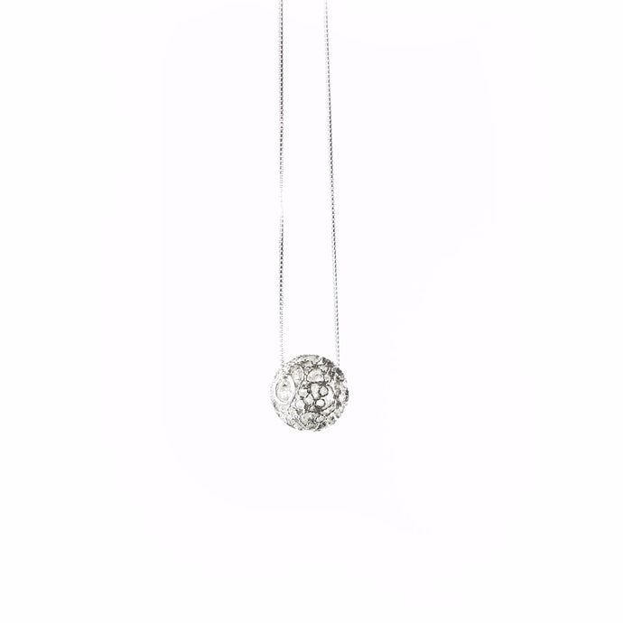 sterling silver globe delicate filigree sphere necklace, ball pendant, elegant design,