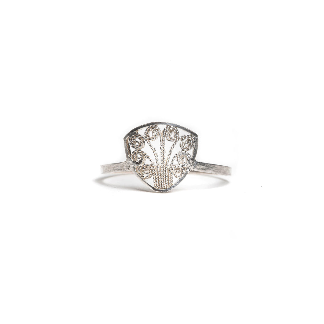 Thin Delicate Triangle Filigree Ring