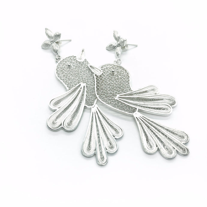 Handmade Silver Wren Bird Earrings