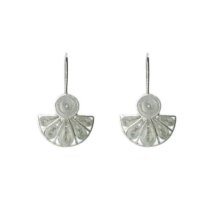 Fan Pandero Earrings - Sterling silver filigree -