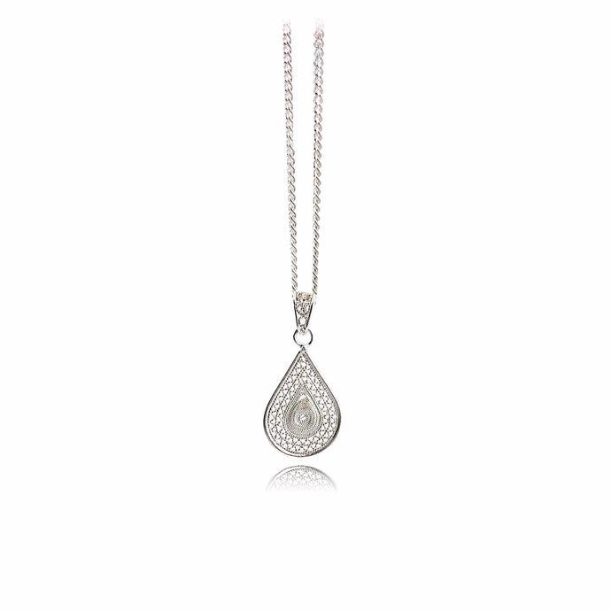 drop pendant - Silver filigree necklace -