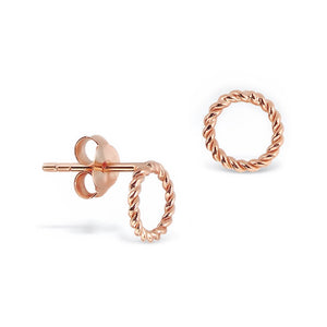Little Studs Rope Twist Circle Rose Gold Plated