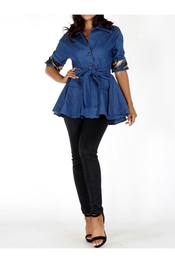 All That Glitters Denim Top - 1uniqueboutiques