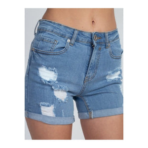 Brooke Distressed Denim Shorts - 1uniqueboutiques