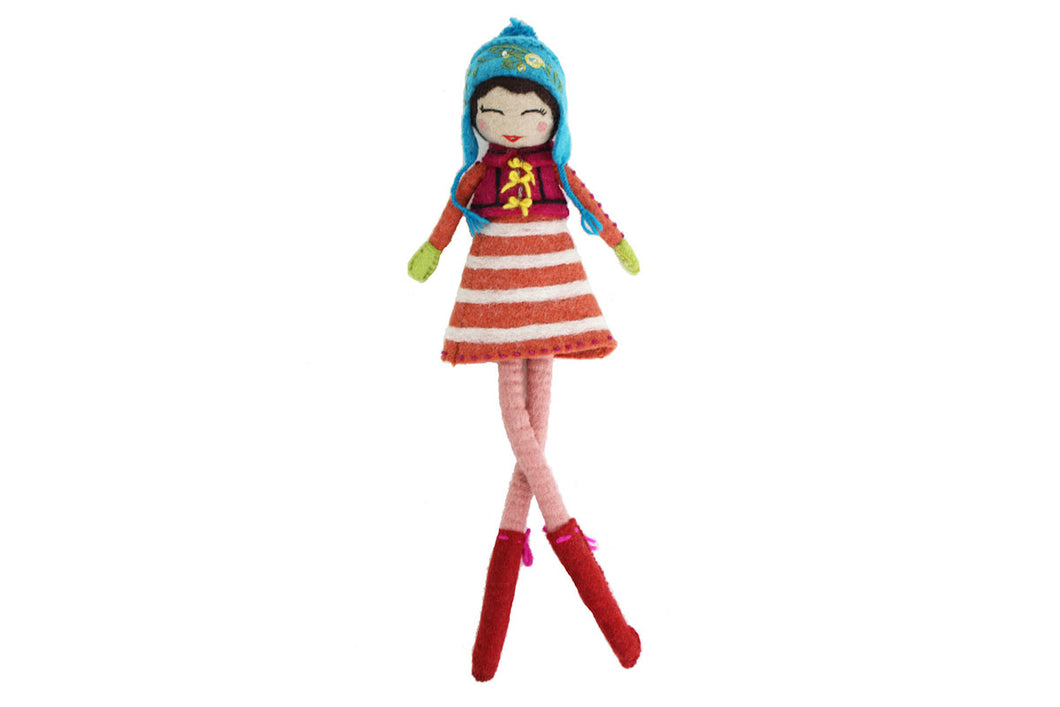 French Knot Doll- Saheli - winter hat glove - hand-knit - French Knot