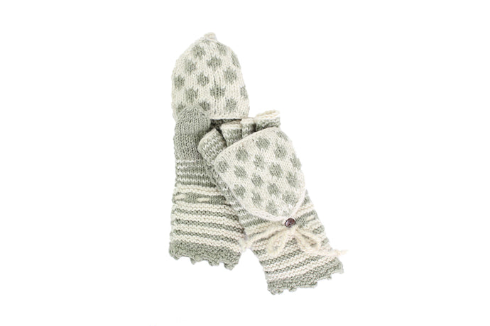 Stripes and Dots Convertible Mitten - French Knot