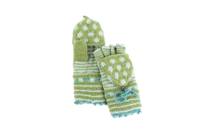 Stripes and Dots Convertible Mitten - winter hat glove - hand-knit - French Knot