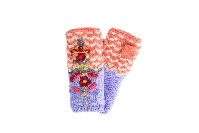 Native Lux Hand Warmer - winter hat glove - hand-knit - French Knot