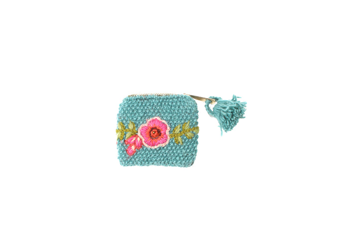 Marigold Coin Pouch - winter hat glove - hand-knit - French Knot