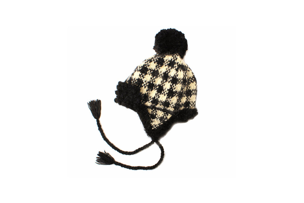 Plaid Earflap Hat - winter hat glove - hand-knit - French Knot