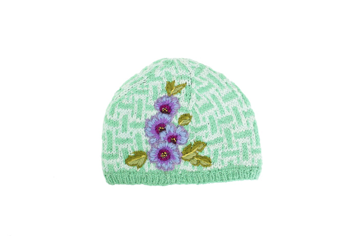 Deco Floral Hat - winter hat glove - hand-knit - French Knot