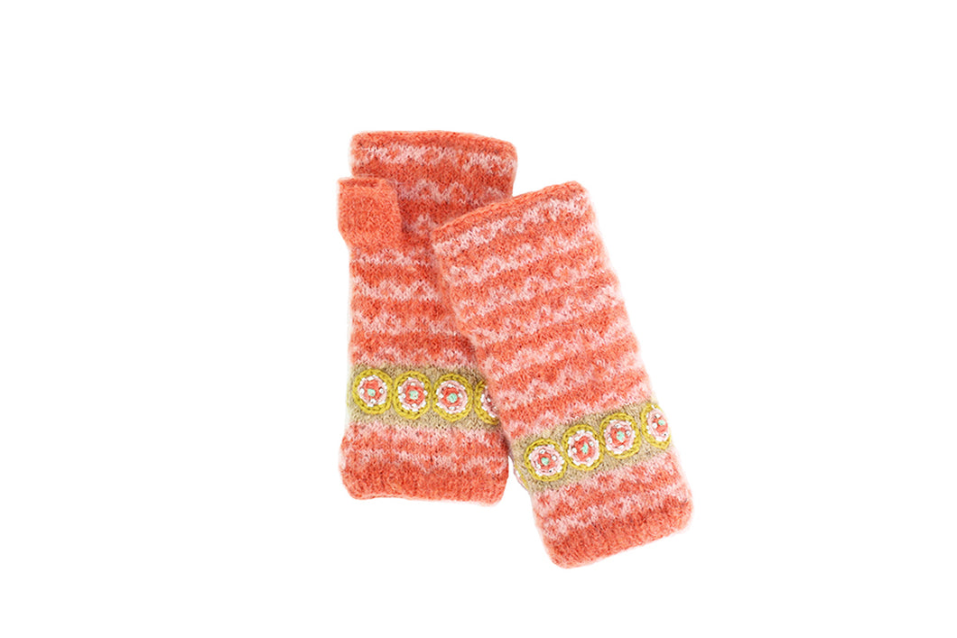 Jeweled Cuff Hand Warmer-Peach - French Knot