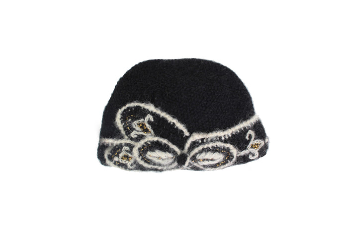 Embroidered Abby Cloche - winter hat glove - hand-knit - French Knot