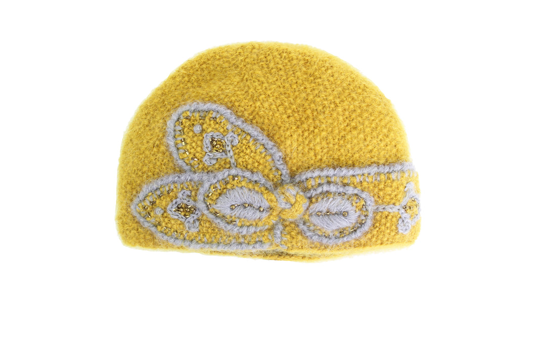 Collegiate Embroidered Abby Cloche - winter hat glove - hand-knit - French Knot