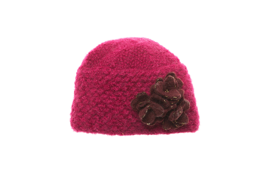 Felt Flower Hat - winter hat glove - hand-knit - French Knot