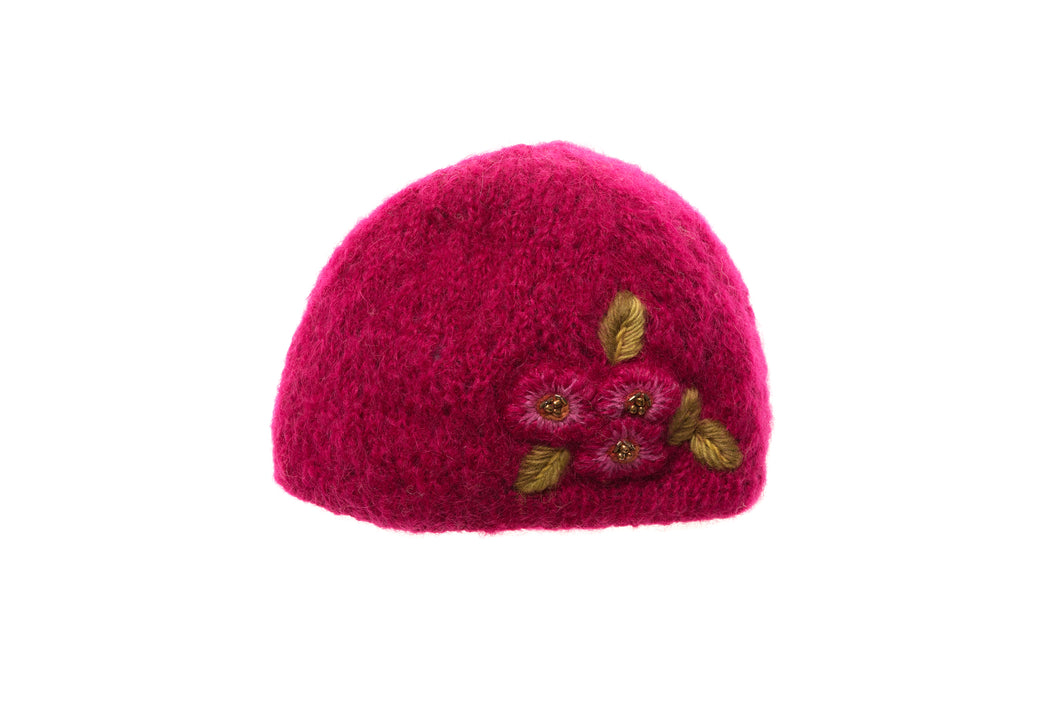 Snow Flower Cloche - winter hat glove - hand-knit - French Knot