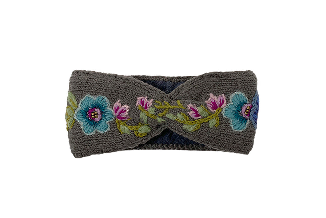 Flower Crown Headband - winter hat glove - hand-knit - French Knot
