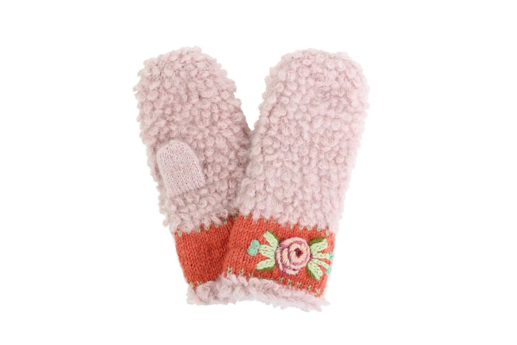 Embroidered Eskimo Mittens - winter hat glove - hand-knit - French Knot