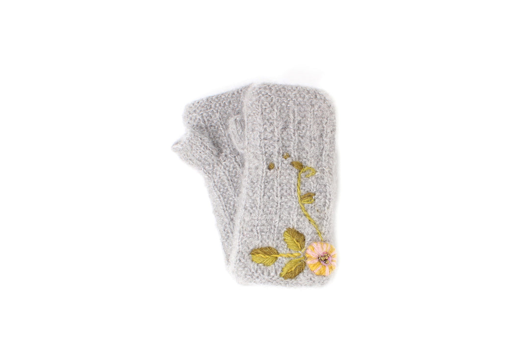 Snowflower Hand Warmer - winter hat glove - hand-knit - French Knot